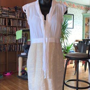 Ann Taylor Loft white gold dress size 9T